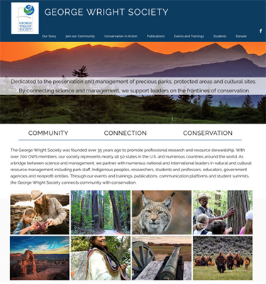 New GWS homepage at georgewrightsociety.org